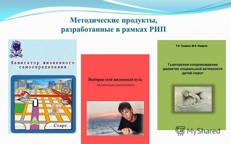 Методические продукты, разработанные в рамках РИП