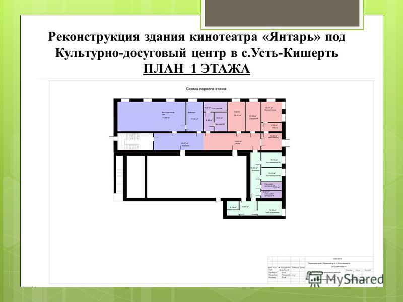 Реконструкция здания кинотеатра «Янтарь» под Культурно-досуговый центр в с.Усть-Кишерть ПЛАН 1 ЭТАЖА