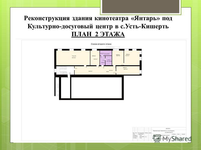 Реконструкция здания кинотеатра «Янтарь» под Культурно-досуговый центр в с.Усть-Кишерть ПЛАН 2 ЭТАЖА