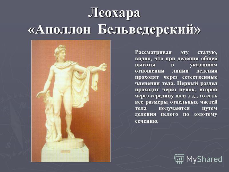 Леохара «Аполлон Бельведерский» Рассматривая эту статую, видно, что при делении общей высоты в указанном отношении линии деления проходят через естественные членения тела. Первый раздел проходит через пупок, второй через середину шеи т.д., то есть вс