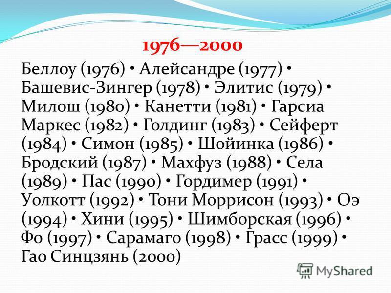 19762000 Беллоу (1976) Алейсандре (1977) Башевис-Зингер (1978) Элитис (1979) Милош (1980) Канетти (1981) Гарсиа Маркес (1982) Голдинг (1983) Сейферт (1984) Симон (1985) Шойинка (1986) Бродский (1987) Махфуз (1988) Села (1989) Пас (1990) Гордимер (199