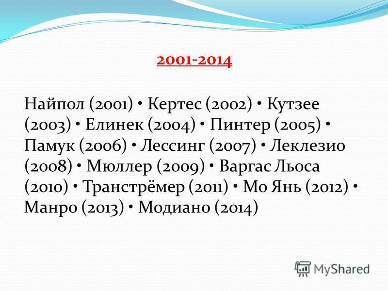2001-2014 Найпол (2001) Кертес (2002) Кутзее (2003) Елинек (2004) Пинтер (2005) Памук (2006) Лессинг (2007) Леклезио (2008) Мюллер (2009) Варгас Льоса (2010) Транстрёмер (2011) Мо Янь (2012) Манро (2013) Модиано (2014)