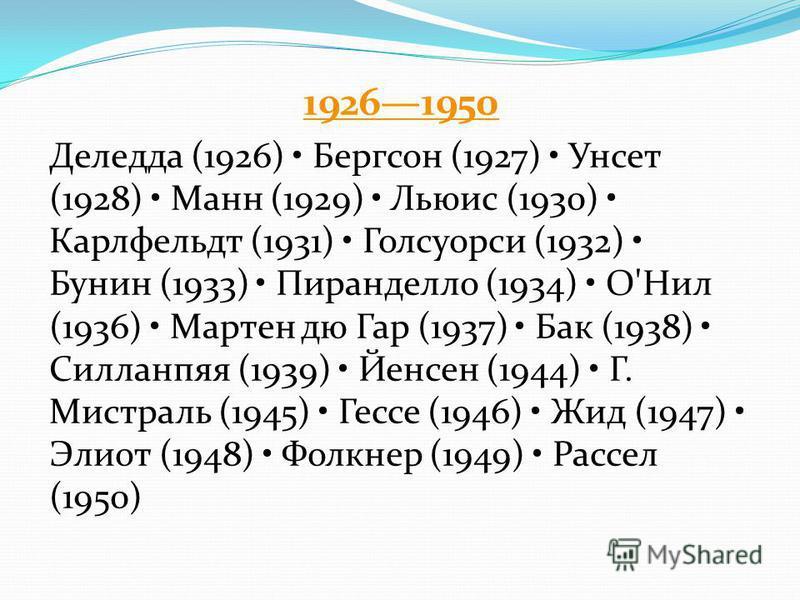 19261950 Деледда (1926) Бергсон (1927) Унсет (1928) Манн (1929) Льюис (1930) Карлфельдт (1931) Голсуорси (1932) Бунин (1933) Пиранделло (1934) О'Нил (1936) Мартен дю Гар (1937) Бак (1938) Силланпяя (1939) Йенсен (1944) Г. Мистраль (1945) Гессе (1946)