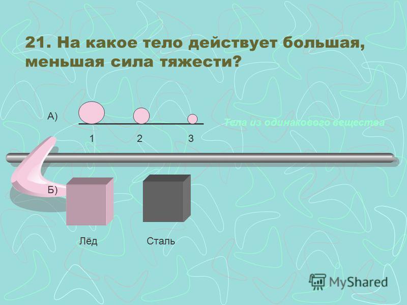 Подумайте: На какой из двух одинаковых по размерам брусков действует большая сила тяжести? 1. Парафиновый 2. Алюминиевый 3. На оба бруска действует одинаковая сила тяжести