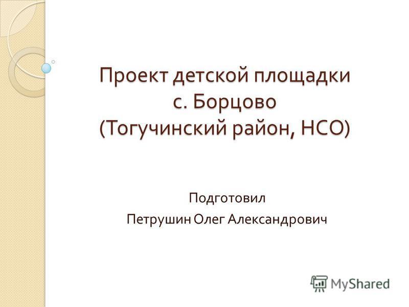 Проект детской площадки с. Борцово ( Тогучинский район, НСО ) Подготовил Петрушин Олег Александрович