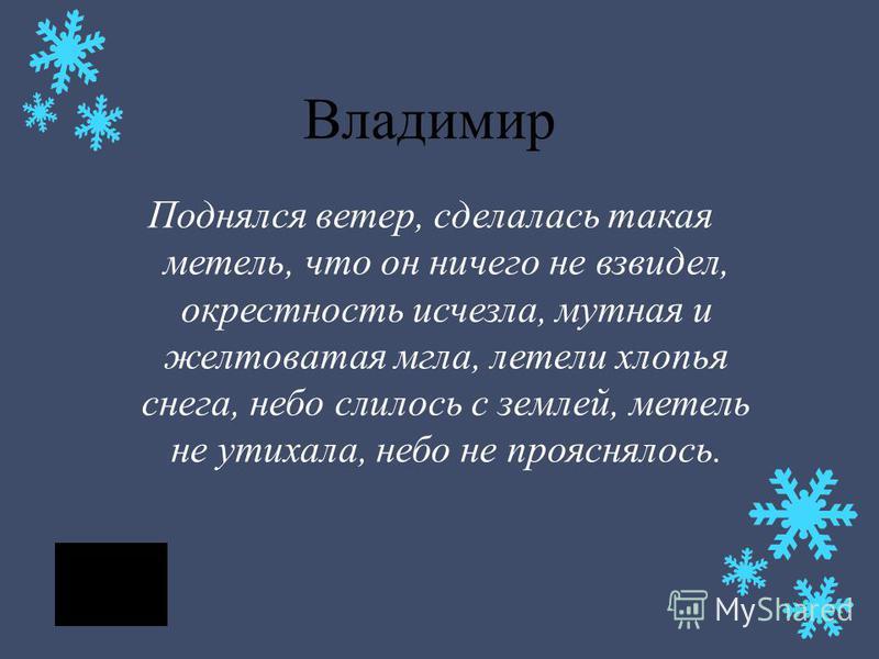 Владимир Поднялся ветер, сделалась такая метель, что он ничего не взвидел, окрестность исчезла, мутная и желтоватая мгла, летели хлопья снега, небо слилось с землей, метель не утихала, небо не прояснялось.