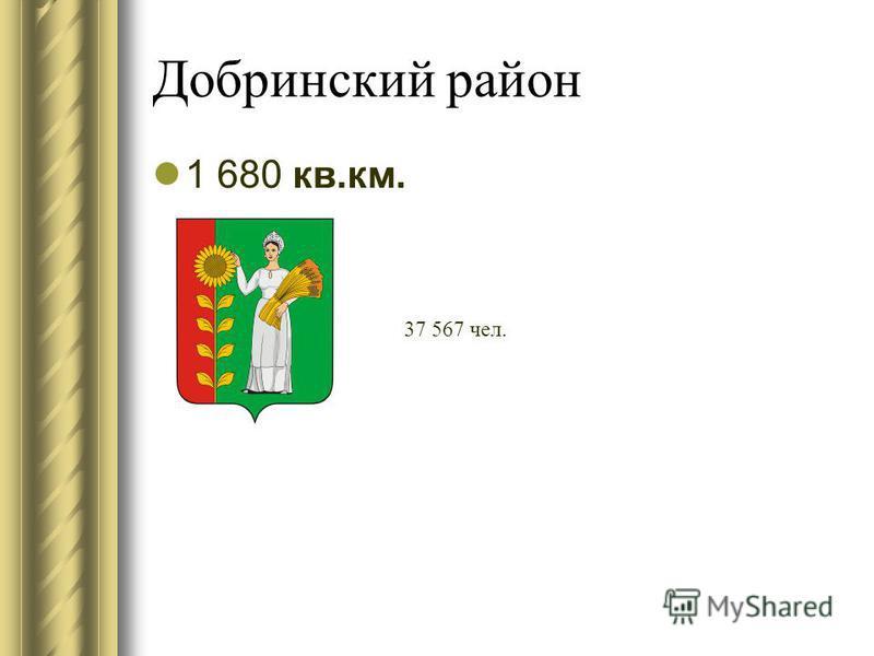 Добринский район 1 680 кв.км. 37 567 чел.
