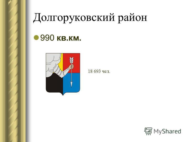 Долгоруковский район 990 кв.км. 18 693 чел.