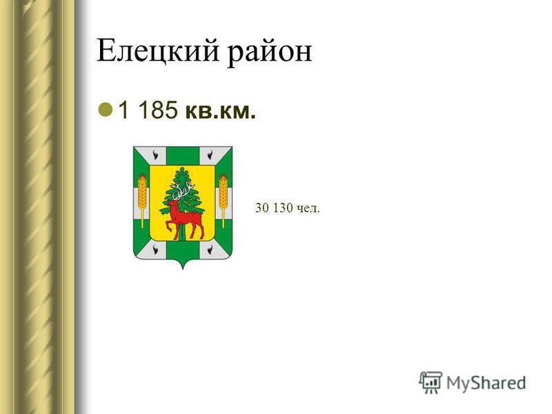Елецкий район 1 185 кв.км. 30 130 чел.