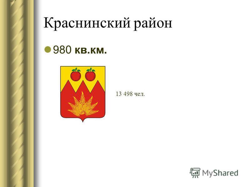 Краснинский район 980 кв.км. 13 498 чел.