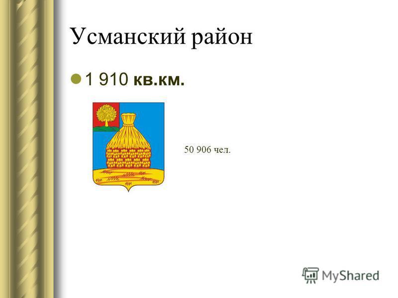 Усманский район 1 910 кв.км. 50 906 чел.