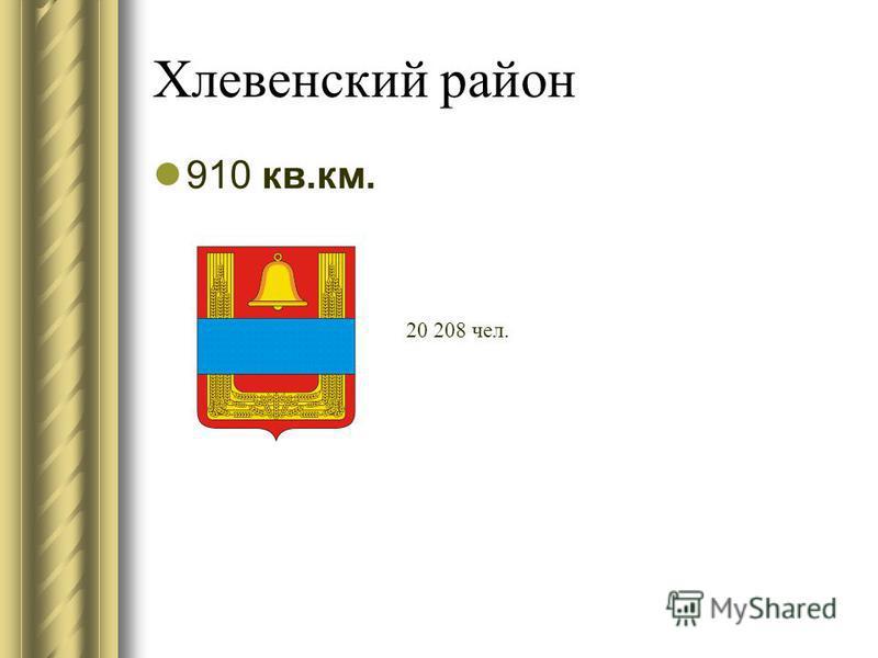 Хлевенский район 910 кв.км. 20 208 чел.