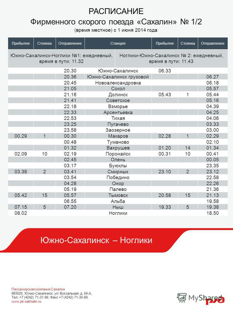 Южно-Сахалинск – Ноглики РАСПИСАНИЕ Фирменного скорого поезда «Сахалин» 1/2 (время местное) с 1 июня 2014 года Прибытие СтоянкаОтправление СтанцияПрибытие СтоянкаОтправление Южно-Сахалинск-Ноглики 1: ежедневный, время в пути: 11.32 Ноглики-Южно-Сахал