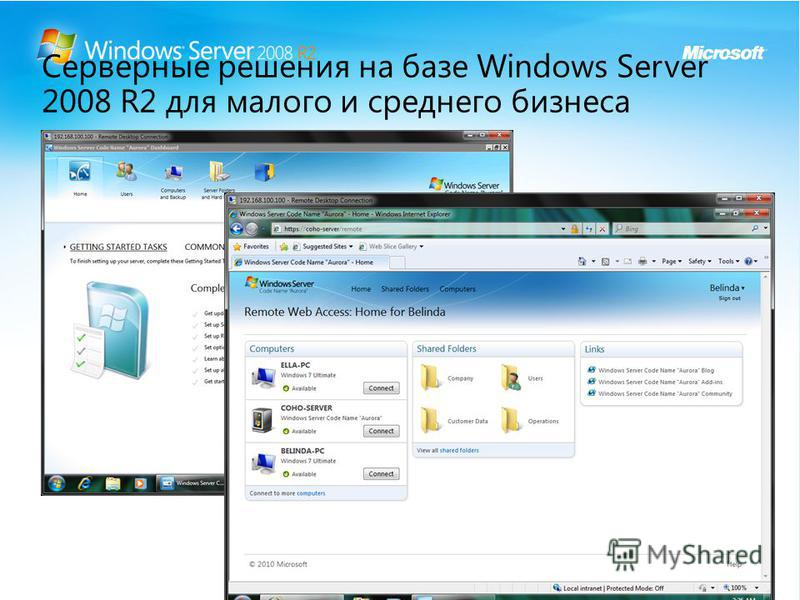 Серверные решения на базе Windows Server 2008 R2 для малого и среднего бизнеса