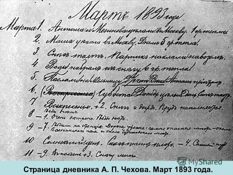 Страница дневника А. П. Чехова. Март 1893 года.