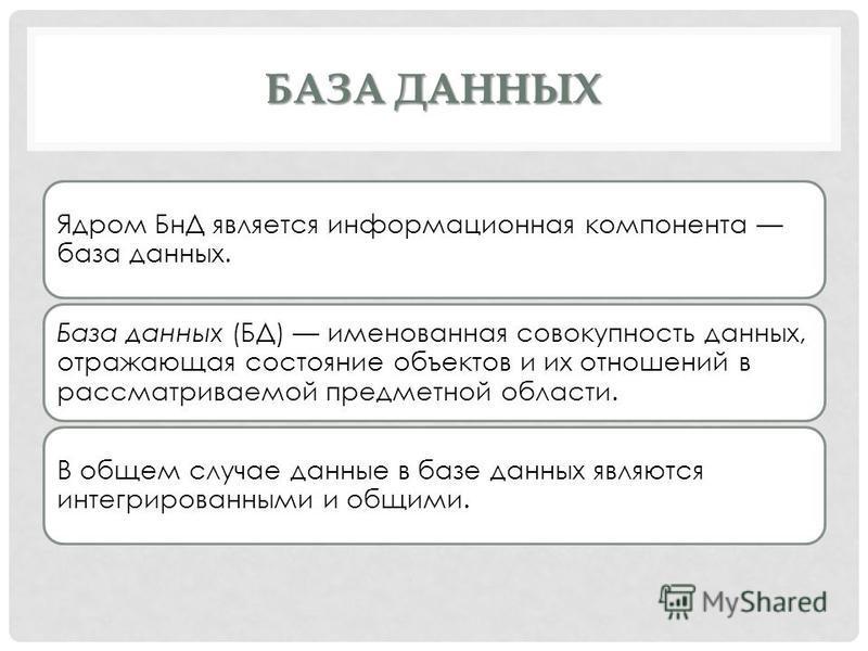 БАЗА ДАННЫХ Ядром БнД является информационная компонента база данных. База данных (БД) именованная совокупность данных, отражающая состояние объектов и их отношений в рассматриваемой предметной области. В общем случае данные в базе данных являются ин