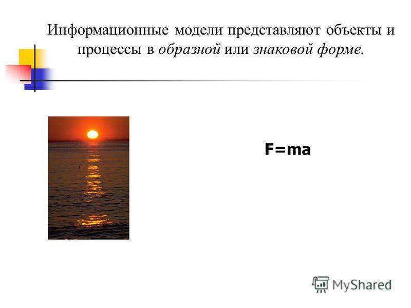 Информационные модели представляют объекты и процессы в образной или знаковой форме. F=ma