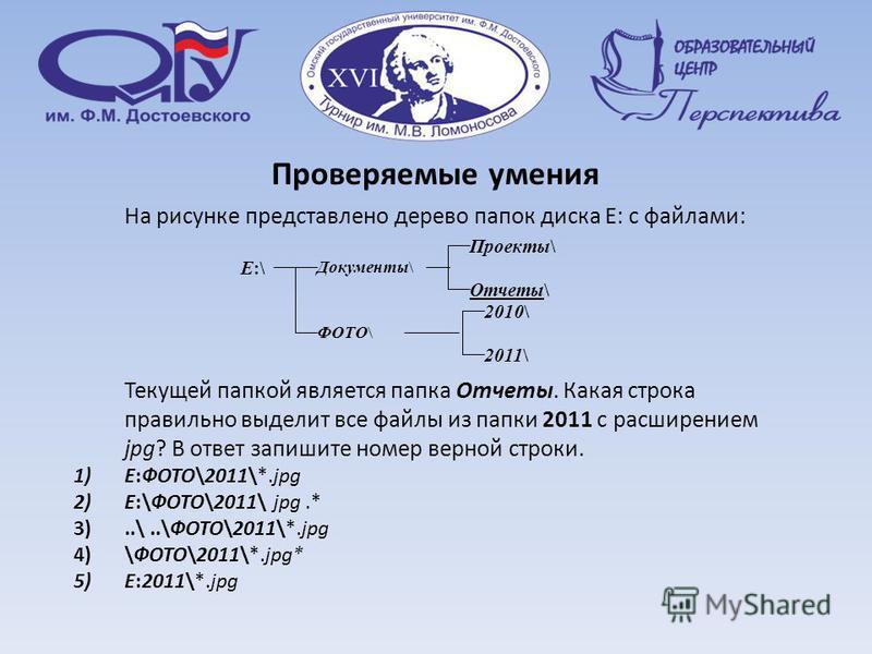 На рисунке представлено дерево папок диска E: с файлами: Текущей папкой является папка Отчеты. Какая строка правильно выделит все файлы из папки 2011 с расширением jpg? В ответ запишите номер верной строки. 1)E:ФОТО\2011\*.jpg 2)E:\ФОТО\2011\ jpg.* 3