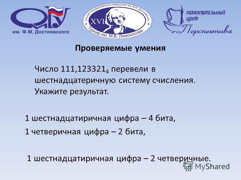 Проверяемые умения Число 111,123321 4 перевели в шестнадцатеричную систему счисления. Укажите результат. 1 шестнадцатеричная цифра – 4 бита, 1 четверичная цифра – 2 бита, 1 шестнадцатеричная цифра – 2 четверичные.
