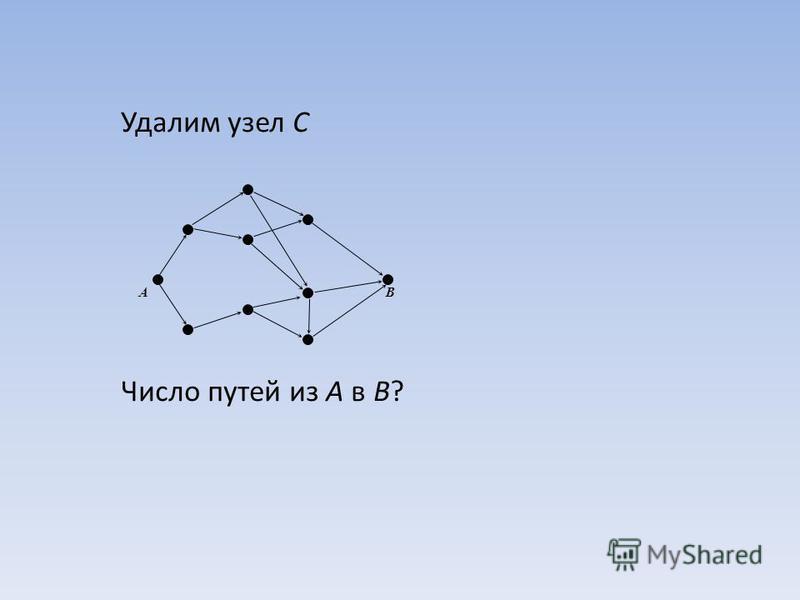 Удалим узел C Число путей из A в B? AB