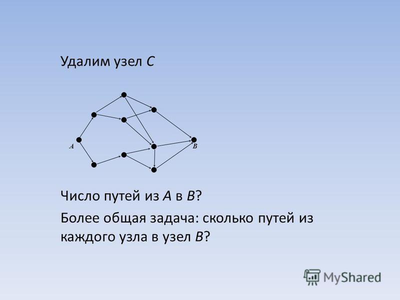Удалим узел C Число путей из A в B? Более общая задача: сколько путей из каждого узла в узел B? AB