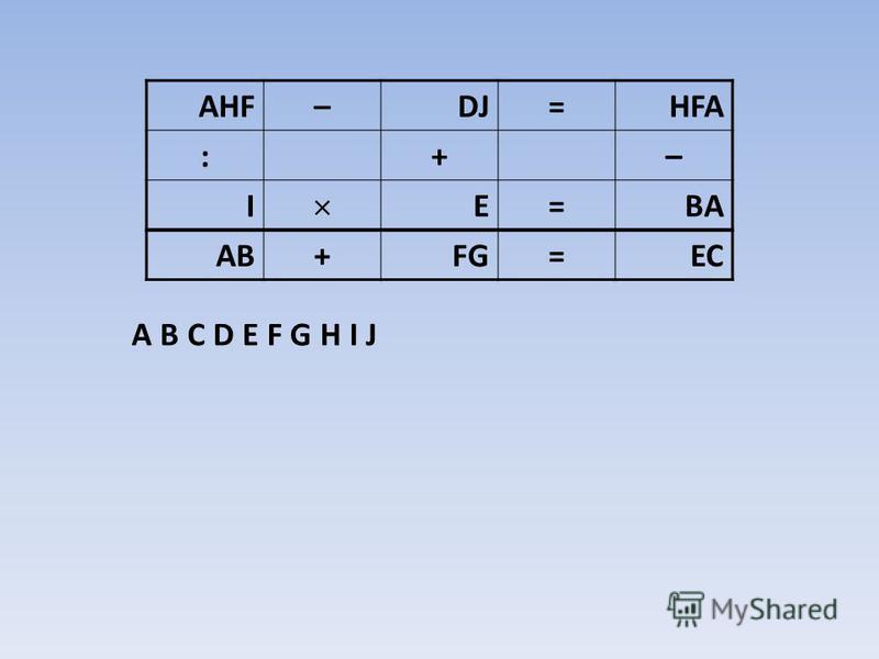 A B C D E F G H I J A B C D E F G H I J AHF–DJ=HFA :+– I E=BA AB+FG=EC