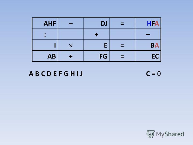 A B C D E F G H I J C = 0 AHF–DJ=HFAHFA :+– I E=BABA AB+FG=EC