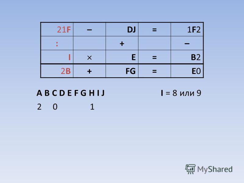 A B C D E F G H I J I = 8 или 9 2 0 1 21F–DJ=1F21F2 :+– I E=B2B2 2B2B+FG=E0E0