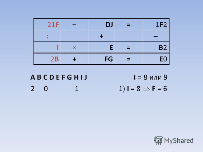 A B C D E F G H I J I = 8 или 9 2 0 1 1) I = 8 F = 6 21F–DJ=1F21F2 :+– I E=B2B2 2B2B+FG=E0E0