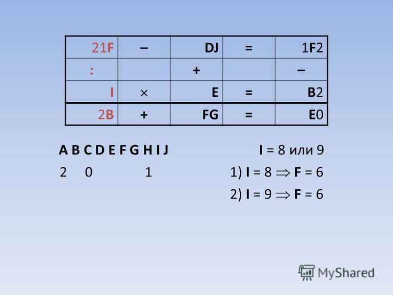 A B C D E F G H I J I = 8 или 9 2 0 1 1) I = 8 F = 6 2) I = 9 F = 6 21F–DJ=1F21F2 :+– I E=B2B2 2B2B+FG=E0E0