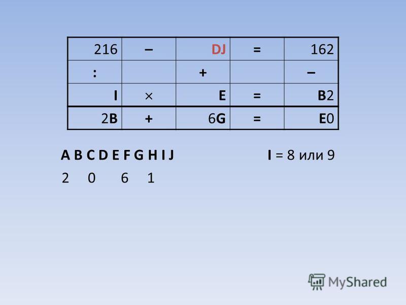 A B C D E F G H I J I = 8 или 9 2 0 6 1 216–DJ=162 :+– I E=B2B2 2B2B+6G6G=E0E0