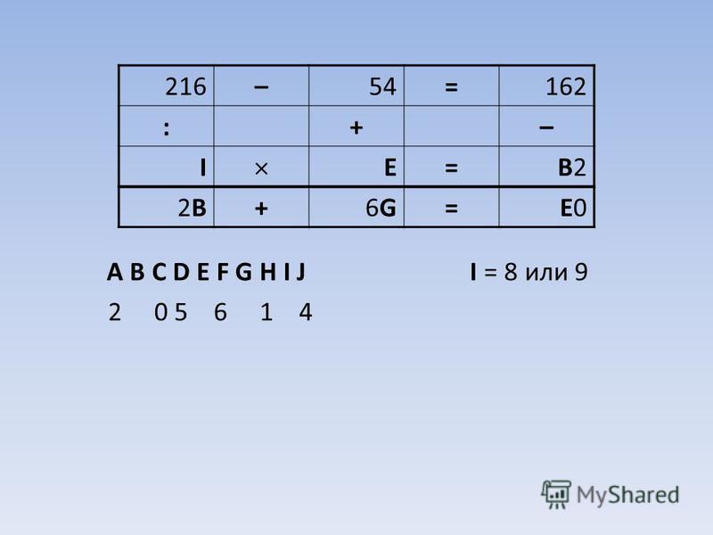 A B C D E F G H I J I = 8 или 9 2 0 5 6 1 4 216–54=162 :+– I E=B2B2 2B2B+6G6G=E0E0