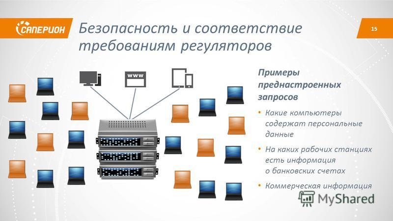 Безопасность и соответствие требованиям регуляторов Примеры пред настроенных запросов Какие компьютеры содержат персональные данные На каких рабочих станциях есть информация о банковских счетах Коммерческая информация 15