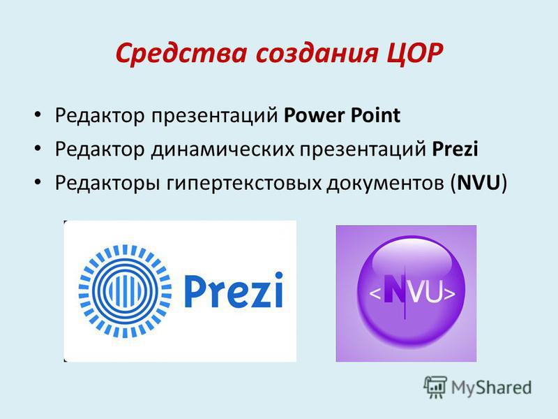 Средства создания ЦОР Редактор презентаций Power Point Редактор динамических презентаций Prezi Редакторы гипертекстовых документов (NVU)