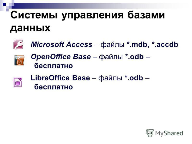 Системы управления базами данных Microsoft Access – файлы *.mdb, *.accdb OpenOffice Base – файлы *.odb – бесплатно LibreOffice Base – файлы *.odb – бесплатно