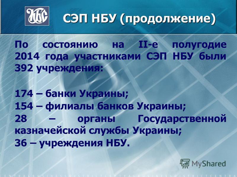 СЭП НБУ (продолжение) СЭП НБУ (продолжение) По состоянию на II-е полугодие 2014 года участниками СЭП НБУ были 392 учреждения: 174 – банки Украины; 154 – филиалы банков Украины; 28 – органы Государственной казначейской службы Украины; 36 – учреждения