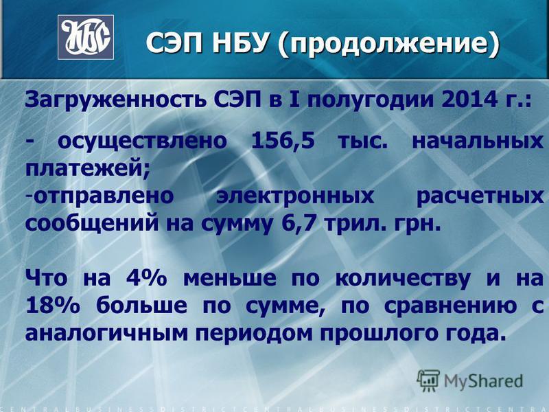 СЭП НБУ (продолжение) СЭП НБУ (продолжение) Загруженность СЭП в I полугодии 2014 г.: - осуществлено 156,5 тыс. начальных платежей; -отправлено электронных расчетных сообщений на сумму 6,7 трил. грн. Что на 4% меньше по количеству и на 18% больше по с