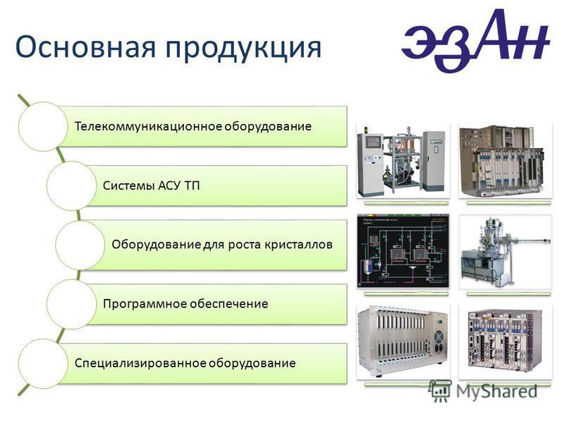 Телекоммуникационное оборудование Системы АСУ ТП Оборудование для роста кристаллов Программное обеспечение Специализированное оборудование Основная продукция