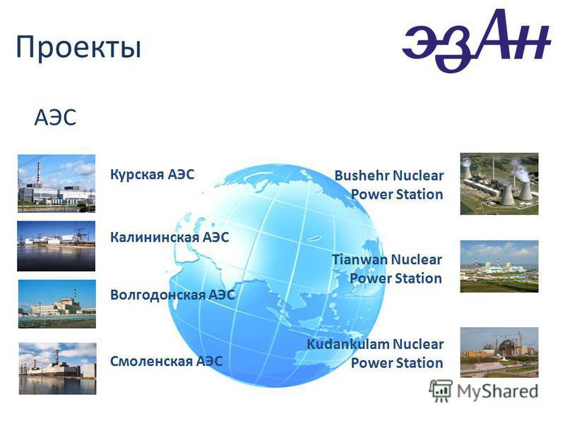 Проекты АЭС Курская АЭС Калининская АЭС Волгодонская АЭС Смоленская АЭС Bushehr Nuclear Power Station Tianwan Nuclear Power Station Kudankulam Nuclear Power Station