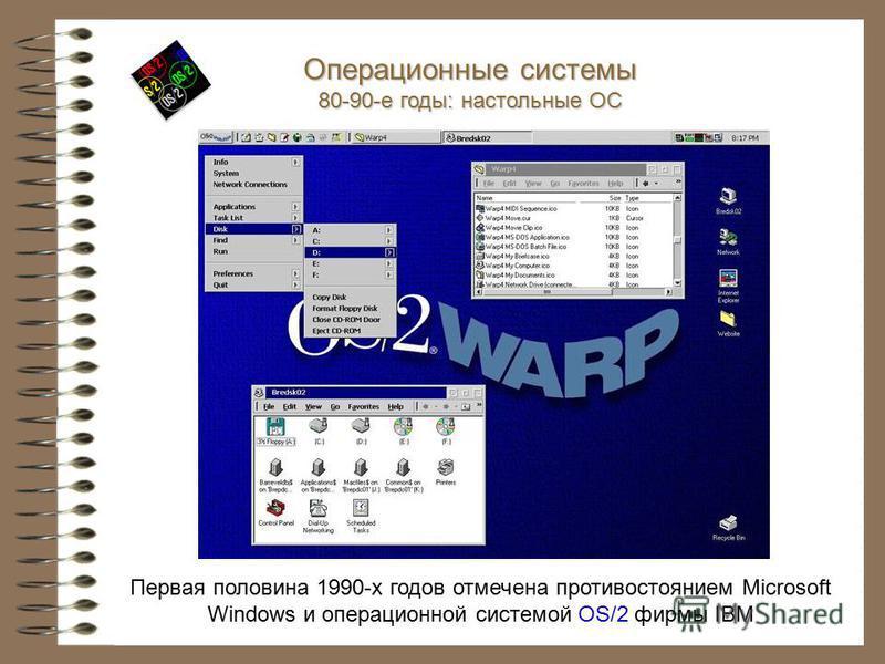 Первая половина 1990-х годов отмечена противостоянием Microsoft Windows и операционной системой OS/2 фирмы IBM Операционные системы 80-90-е годы: настольные ОС