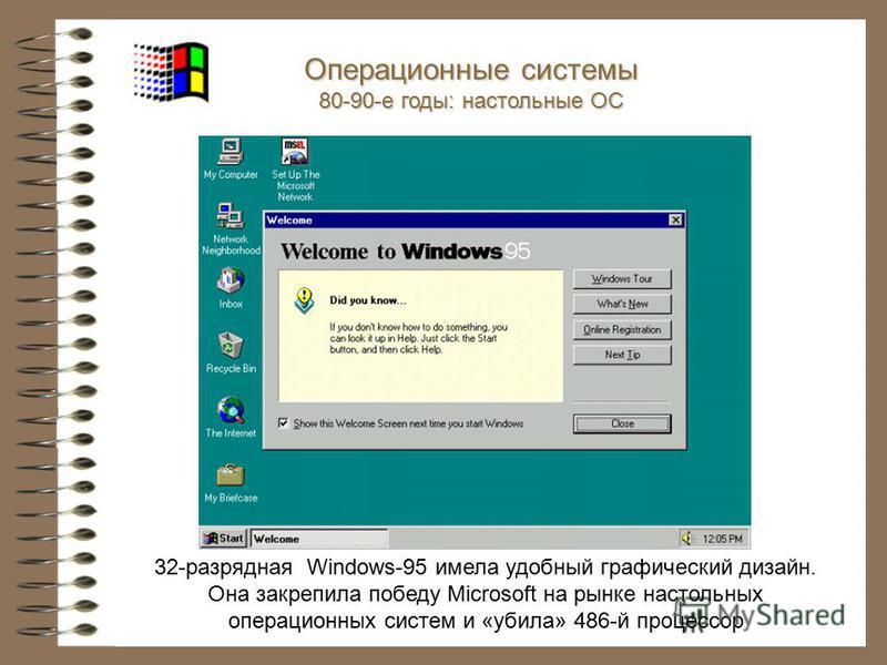 32-разрядная Windows-95 имела удобный графический дизайн. Она закрепила победу Microsoft на рынке настольных операционных систем и «убила» 486-й процессор Операционные системы 80-90-е годы: настольные ОС