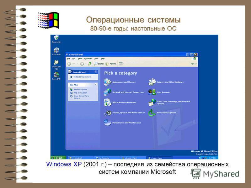 Windows XP (2001 г.) – последняя из семейства операционных систем компании Microsoft Операционные системы 80-90-е годы: настольные ОС