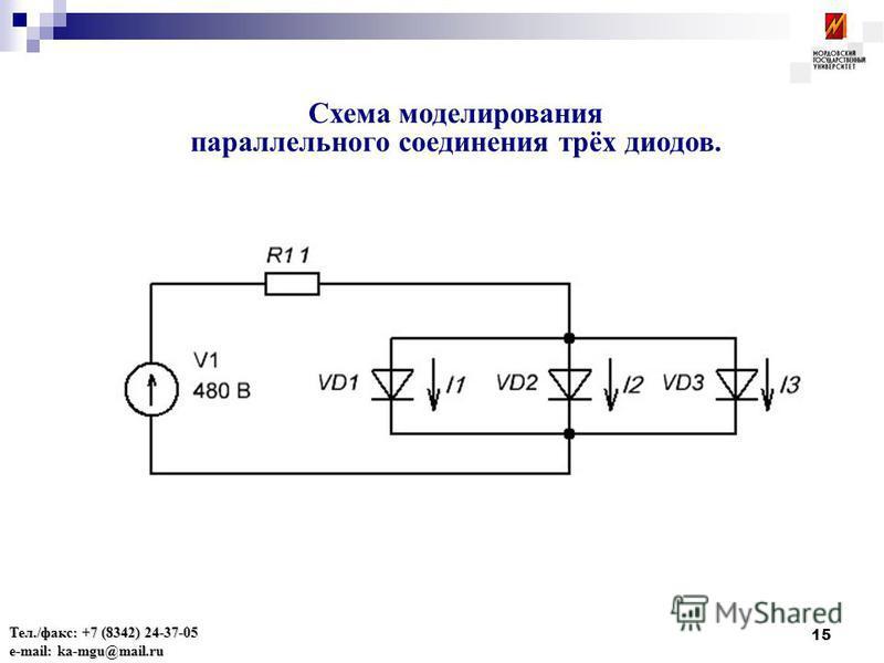 15 Схема моделирования параллельного соединения трёх диодов. Тел./факс: +7 (8342) 24-37-05 e-mail: ka-mgu@mail.ru