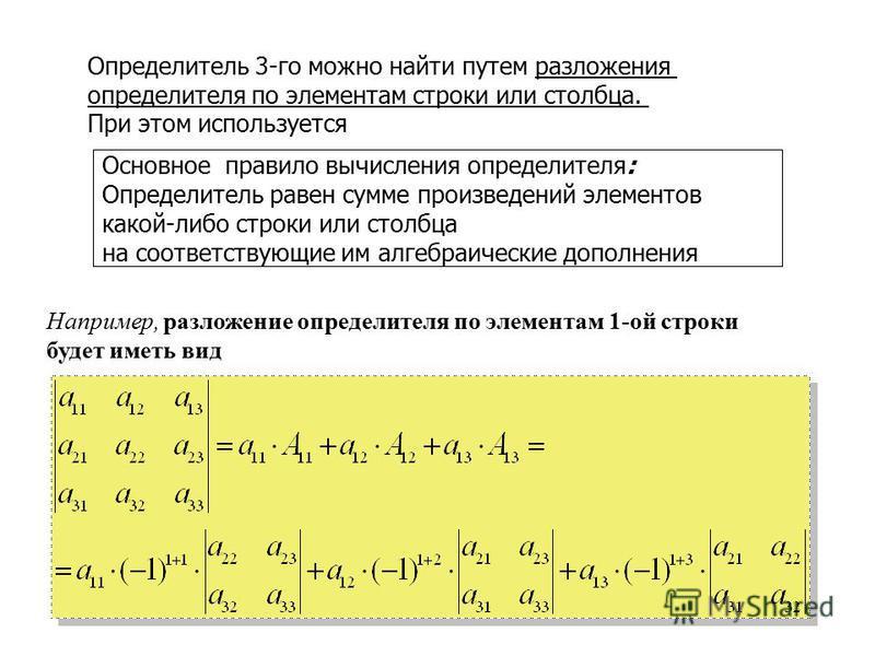 Определитель 3-го можно найти путем разложения определителя по элементам строки или столбца. При этом используется Основное правило вычисления определителя: Определитель равен сумме произведений элементов какой-либо строки или столбца на соответствую