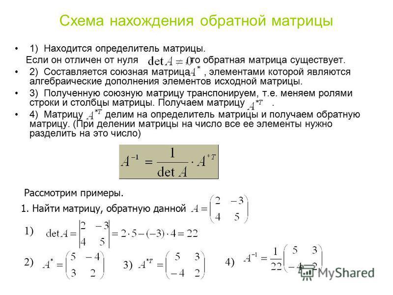 Схема нахождения обратной матрицы 1) Находится определитель матрицы. Если он отличен от нуля, то обратная матрица существует. 2) Составляется союзная матрица, элементами которой являются алгебраические дополнения элементов исходной матрицы. 3) Получе