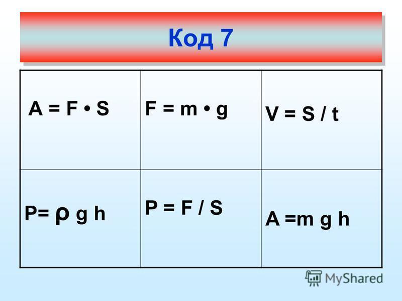 А = F SF = m g V = S / t P= ρ g h P = F / S A =m g h Код 7