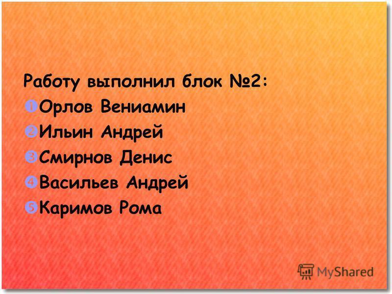 Работу выполнил блок 2: Орлов Вениамин Ильин Андрей Смирнов Денис Васильев Андрей Каримов Рома