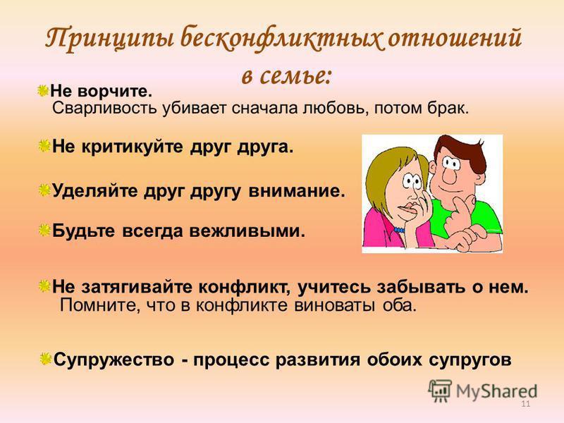 11 Принципы бесконфликтных отношений в семье: Не критикуйте друг друга. Уделяйте друг другу внимание. Будьте всегда вежливыми. Не затягивайте конфликт, учитесь забывать о нем. Помните, что в конфликте виноваты оба. Супружество - процесс развития обои