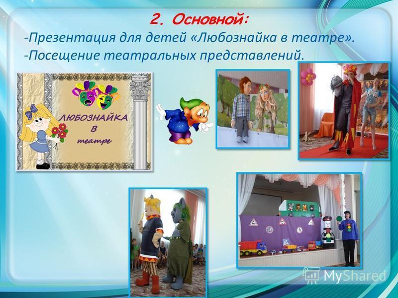 2. Основной: -Презентация для детей «Любознайка в театре». -Посещение театральных представлений.