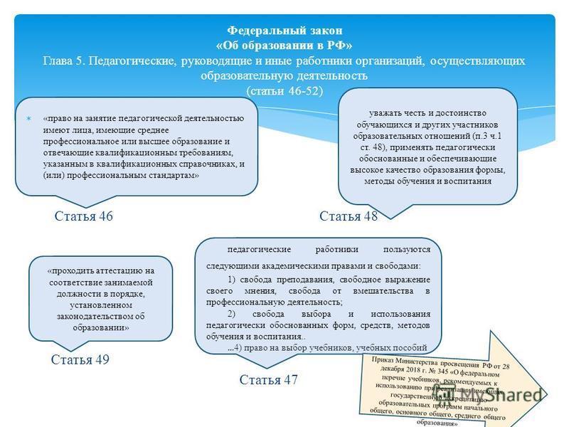 Статья 46 Статья 48 Статья 49 Статья 47 Федеральный закон «Об образовании в РФ» Глава 5. Педагогические, руководящие и иные работники организаций, осуществляющих образовательную деятельность (статьи 46-52) «право на занятие педагогической деятельност